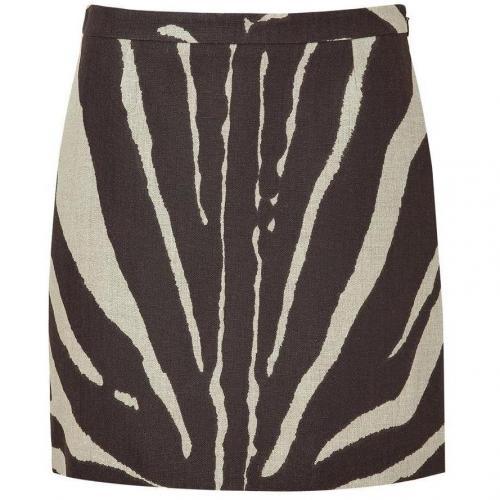 Beige/Brown Zebra Print Linen Skirt von Michael Kors
