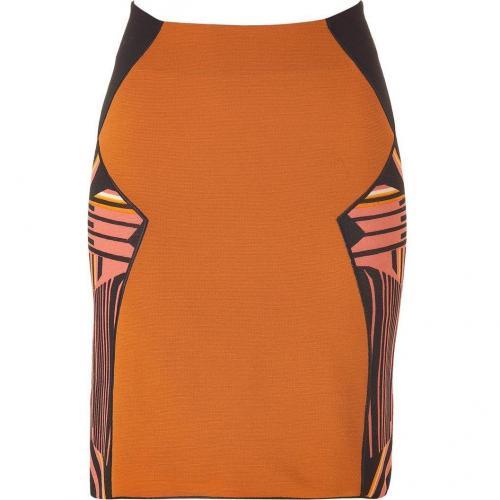 Cinnamon/ Black Geometric Patterned Wool Skirt von Missoni