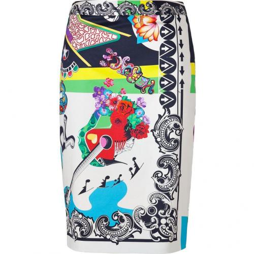Multicolored Cotton Stretch RocknRoll Printed Pencil Skirt von Versace